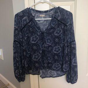 Hollister flower print button up blouse